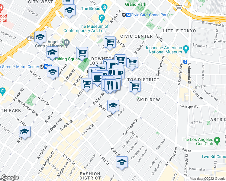 map of restaurants, bars, coffee shops, grocery stores, and more near 550 South Main Street in Los Angeles