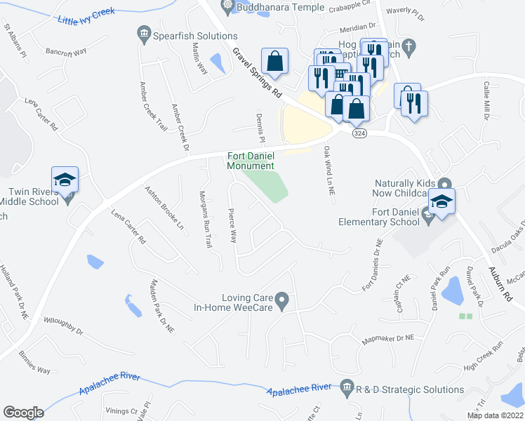 map of restaurants, bars, coffee shops, grocery stores, and more near 1854 Pierce Way Northeast in Buford