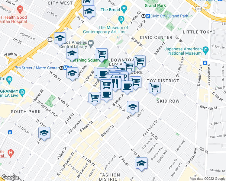 map of restaurants, bars, coffee shops, grocery stores, and more near 621 South Spring Street in Los Angeles