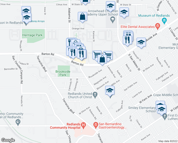 map of restaurants, bars, coffee shops, grocery stores, and more near 1498 Brookside Avenue in Redlands
