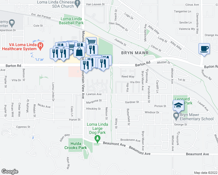 map of restaurants, bars, coffee shops, grocery stores, and more near 25864 Sunrise Way in Loma Linda