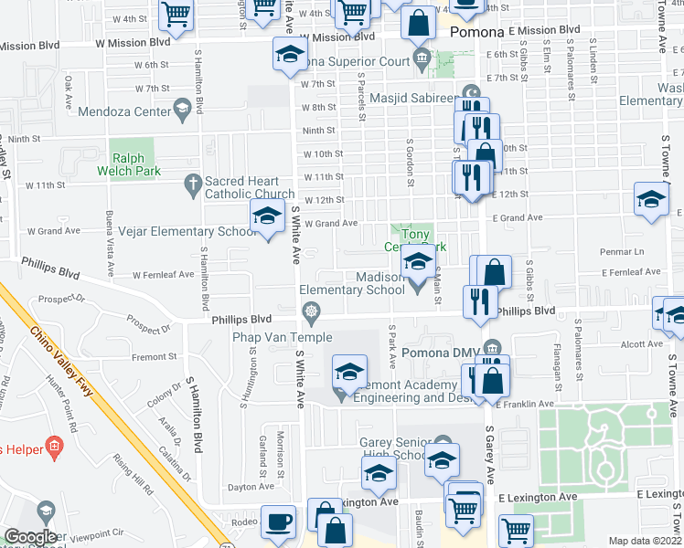 map of restaurants, bars, coffee shops, grocery stores, and more near 1401 South Rebecca Street in Pomona
