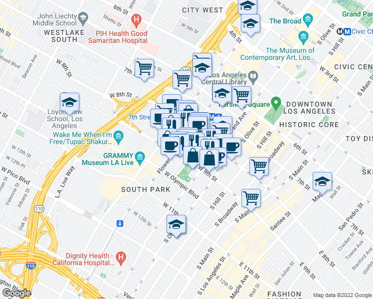 map of restaurants, bars, coffee shops, grocery stores, and more near 645 West 9th Street in Los Angeles
