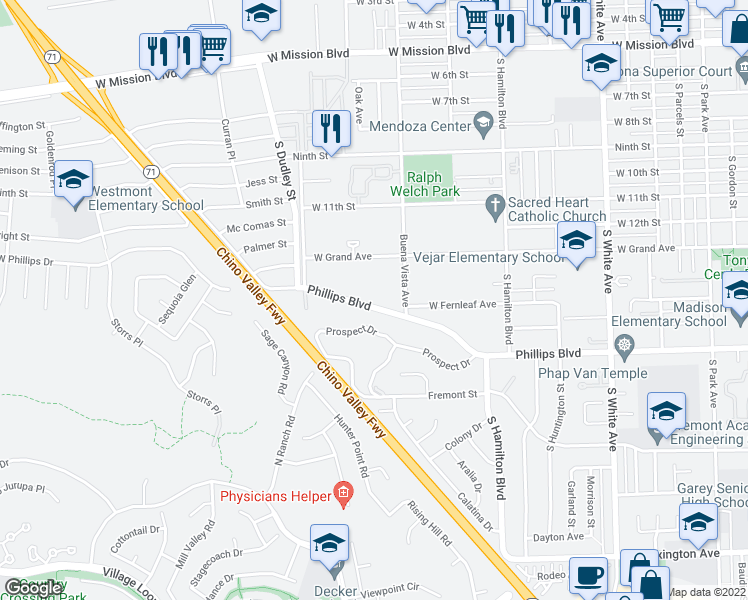 map of restaurants, bars, coffee shops, grocery stores, and more near 1357 West Phillips Boulevard in Pomona