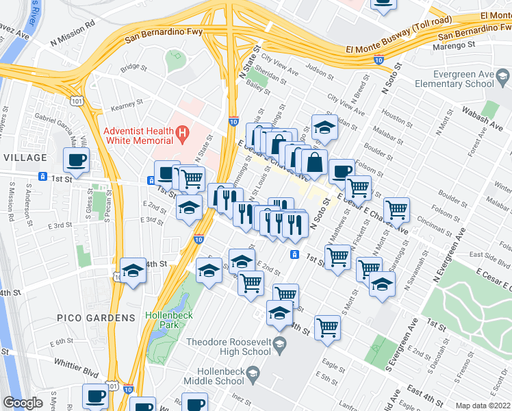 map of restaurants, bars, coffee shops, grocery stores, and more near 214 N St Louis St in Los Angeles