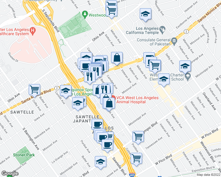 map of restaurants, bars, coffee shops, grocery stores, and more near 1820 South Bentley Avenue in Los Angeles
