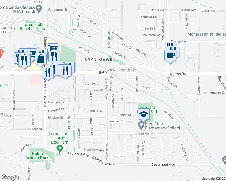 map of restaurants, bars, coffee shops, grocery stores, and more near 26138 Wallack Place in Loma Linda