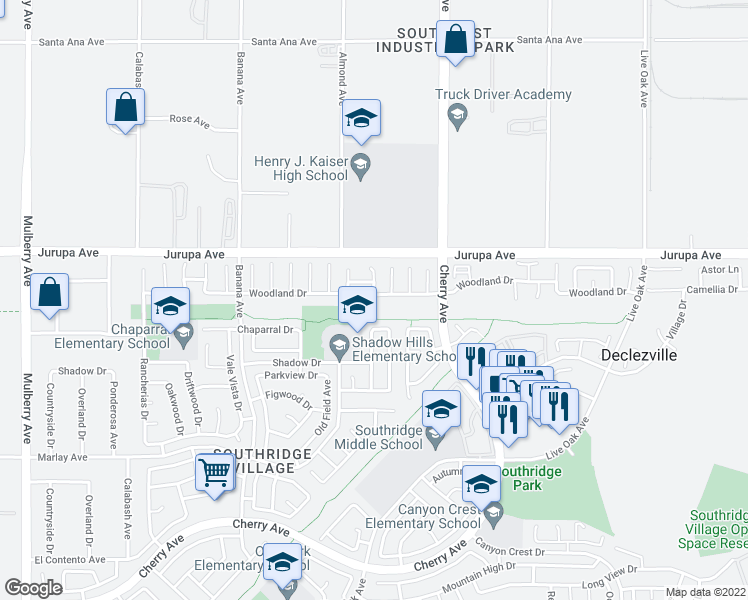 map of restaurants, bars, coffee shops, grocery stores, and more near 14367 Woodland Drive in Fontana