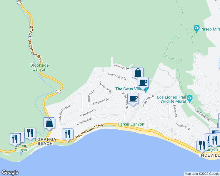 map of restaurants, bars, coffee shops, grocery stores, and more near 3640 Surfwood Road in Malibu