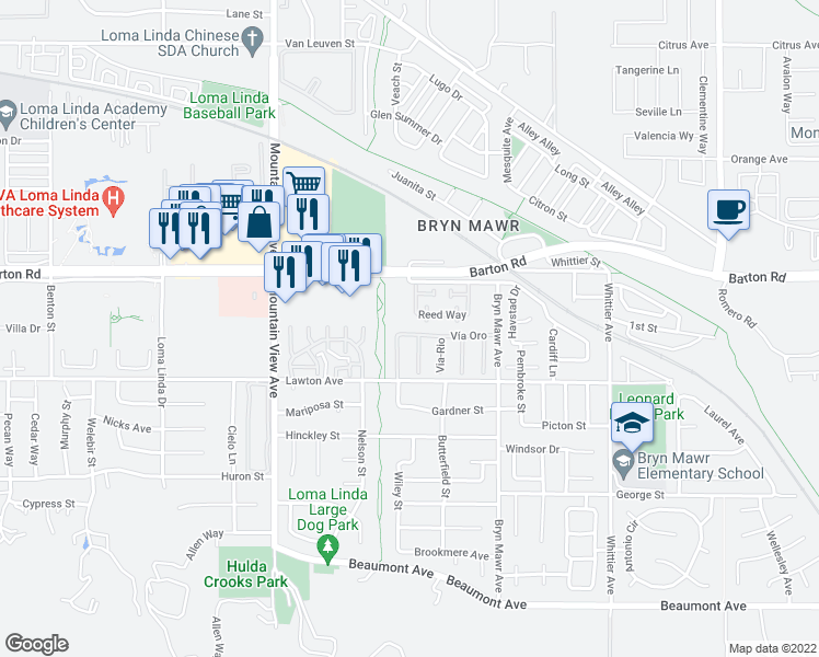 map of restaurants, bars, coffee shops, grocery stores, and more near 25940 Vía Oro in Loma Linda