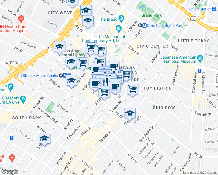 map of restaurants, bars, coffee shops, grocery stores, and more near South Broadway & West 6th Street in Los Angeles