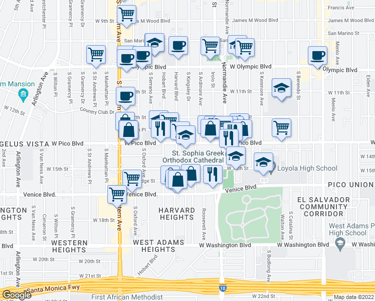 map of restaurants, bars, coffee shops, grocery stores, and more near 2900 West Pico Boulevard in Los Angeles