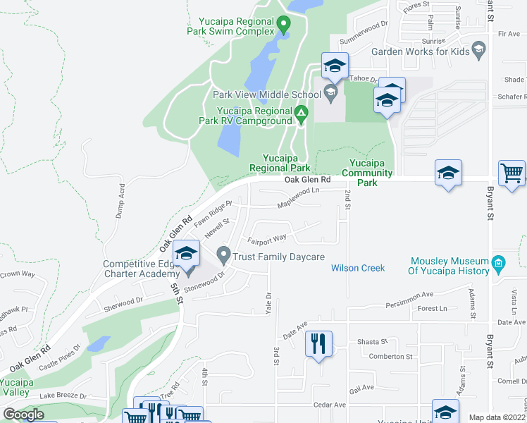 map of restaurants, bars, coffee shops, grocery stores, and more near 34663 Maplewood Lane in Yucaipa