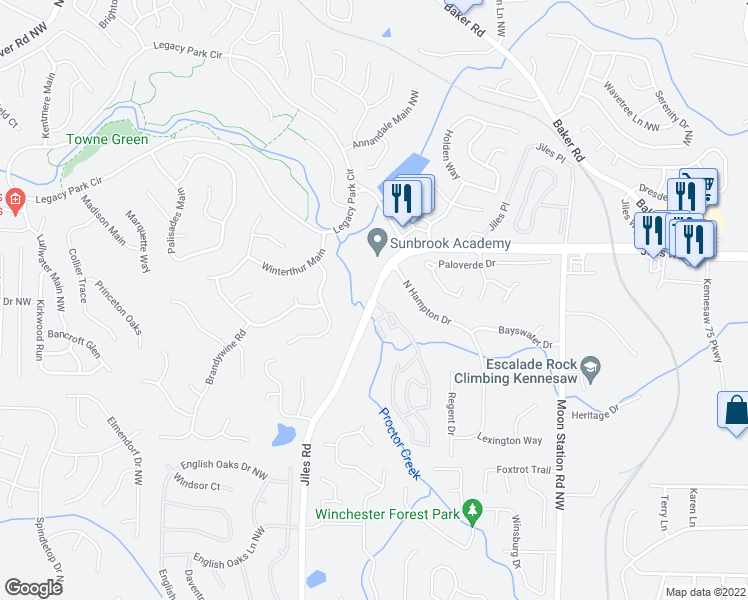 map of restaurants, bars, coffee shops, grocery stores, and more near 3840 Jiles Road Northwest in Kennesaw
