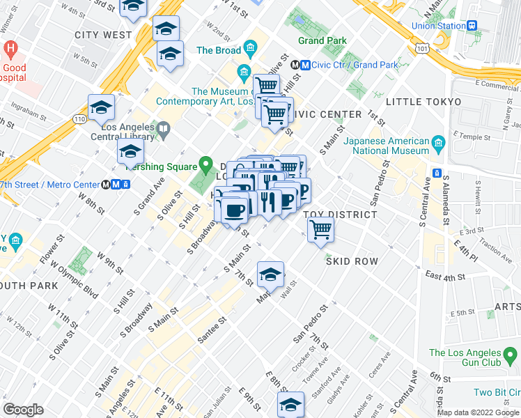 map of restaurants, bars, coffee shops, grocery stores, and more near 510 South Spring Street in Los Angeles