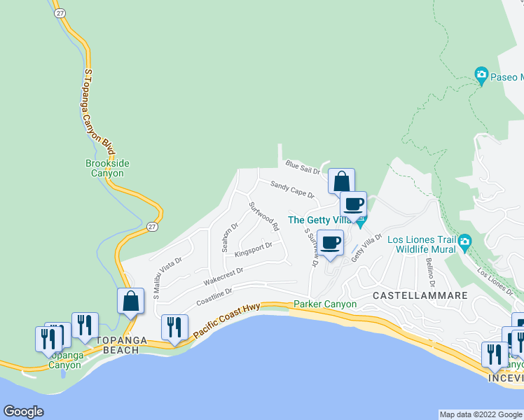 map of restaurants, bars, coffee shops, grocery stores, and more near 3612 Surfwood Road in Malibu