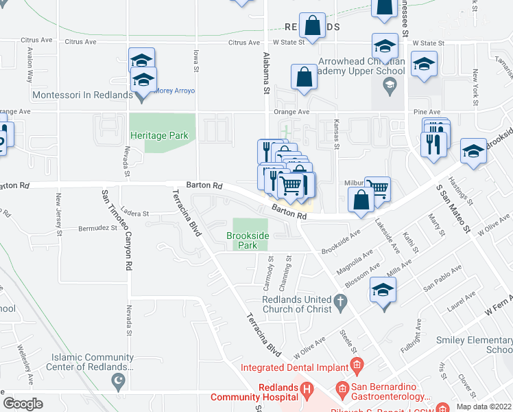 map of restaurants, bars, coffee shops, grocery stores, and more near 1601 Barton Road in Redlands
