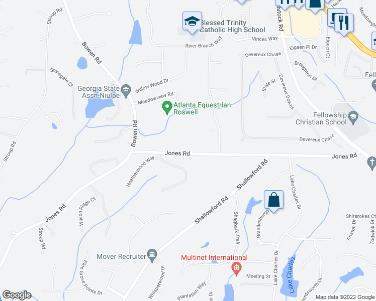 map of restaurants, bars, coffee shops, grocery stores, and more near 1025 Jones Road in Roswell