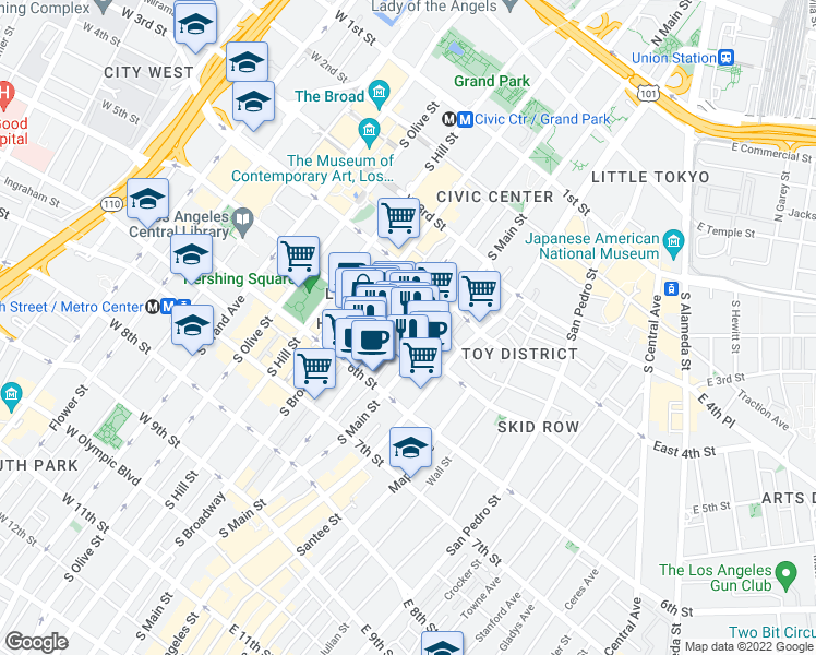 map of restaurants, bars, coffee shops, grocery stores, and more near 460 South Spring Street in Los Angeles