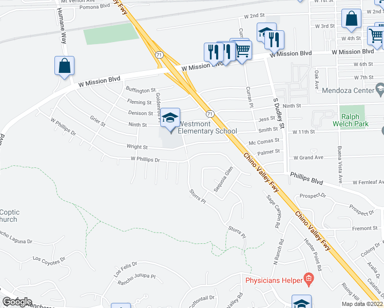 map of restaurants, bars, coffee shops, grocery stores, and more near 1761 West Phillips Drive in Pomona