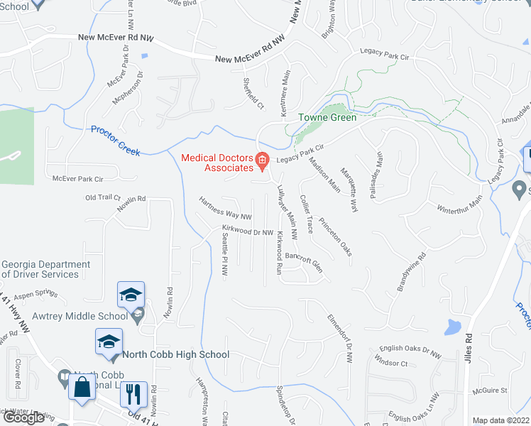 map of restaurants, bars, coffee shops, grocery stores, and more near 3650 Bancroft Main in Kennesaw