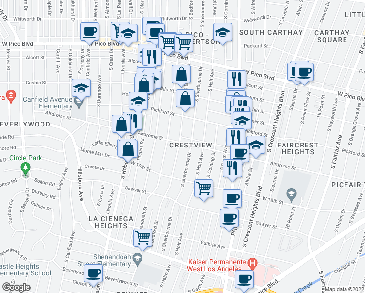 map of restaurants, bars, coffee shops, grocery stores, and more near 1706 South Bedford Street in Los Angeles