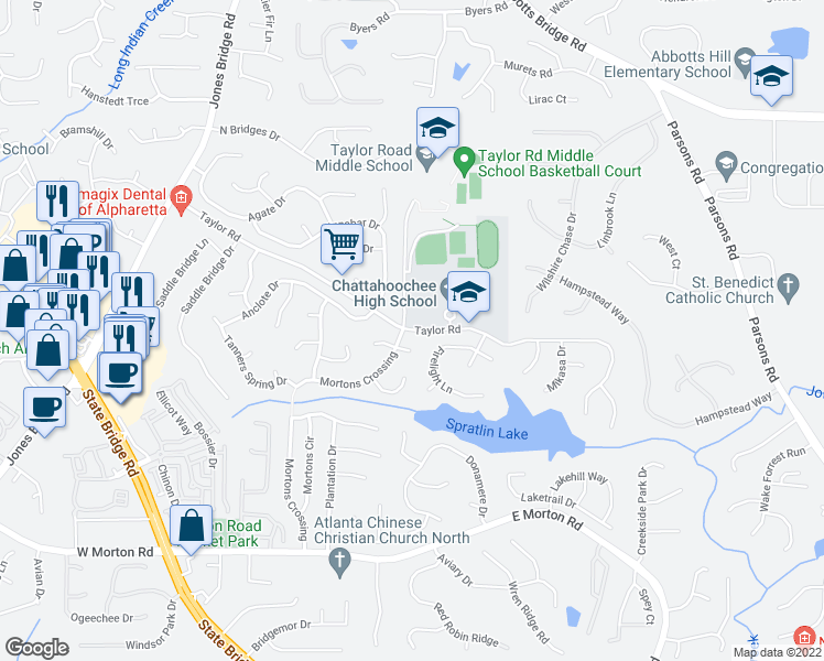 map of restaurants, bars, coffee shops, grocery stores, and more near 5166-5252 Taylor Road in Johns Creek