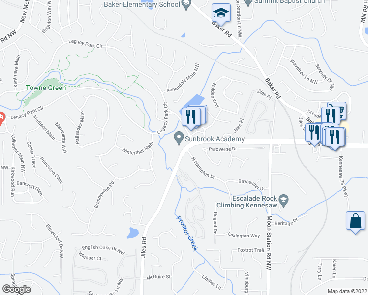 map of restaurants, bars, coffee shops, grocery stores, and more near 3871 Jiles Road in Kennesaw