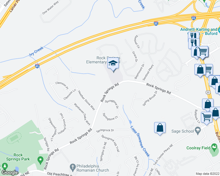 map of restaurants, bars, coffee shops, grocery stores, and more near 850-880 Rock Springs Road in Lawrenceville
