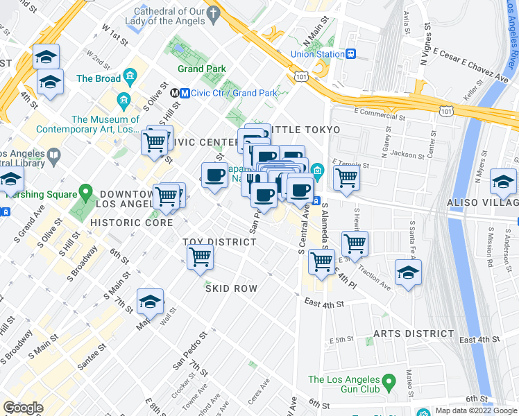 map of restaurants, bars, coffee shops, grocery stores, and more near 235 South San Pedro Street in Los Angeles
