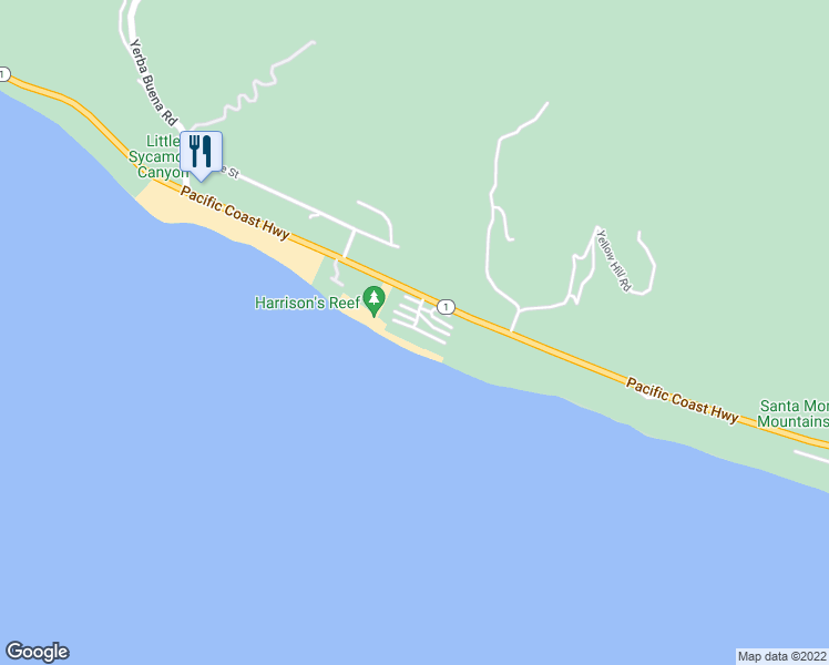 map of restaurants, bars, coffee shops, grocery stores, and more near 11876 Beach Club Way in Malibu
