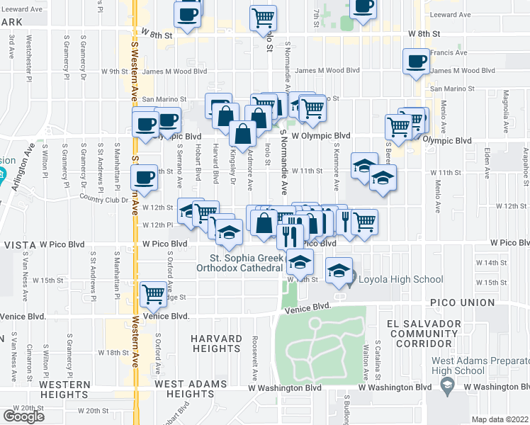Map Of Restaurants Bars Coffee Shops Grocery Stores And More Near 1207