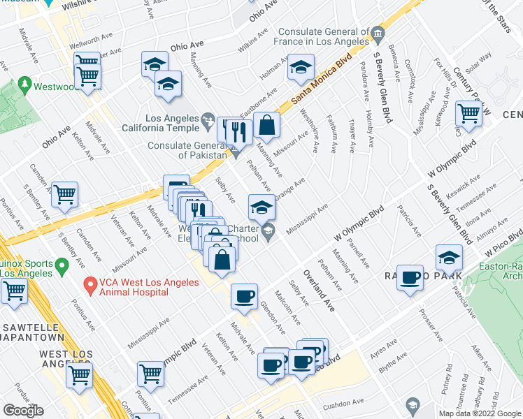 map of restaurants, bars, coffee shops, grocery stores, and more near Overland Avenue & La Grange Avenue in Los Angeles