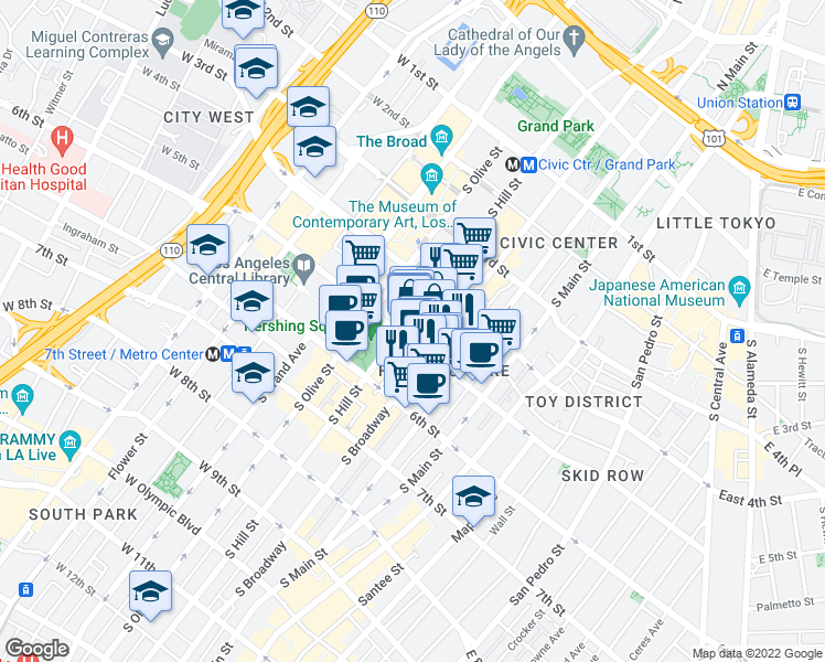 map of restaurants, bars, coffee shops, grocery stores, and more near 448 South Hill Street in Los Angeles