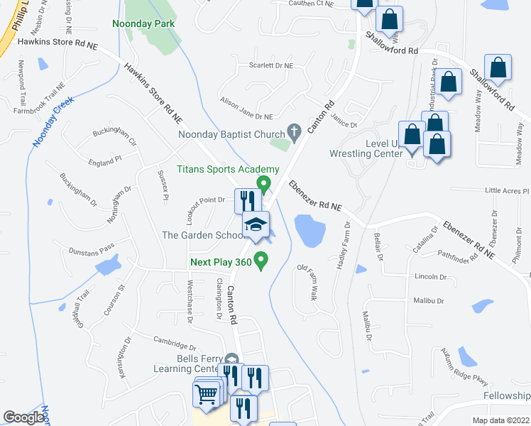 map of restaurants, bars, coffee shops, grocery stores, and more near 3951-3993 Canton Road in Marietta