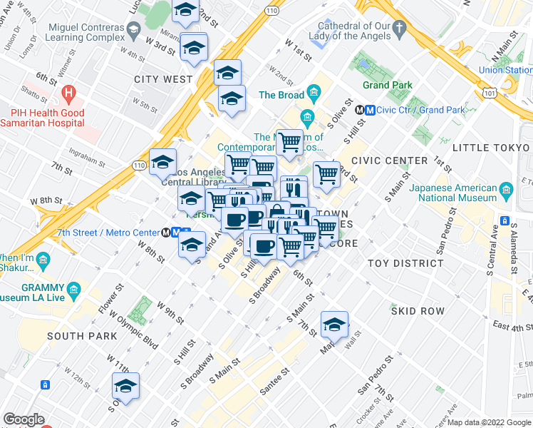 map of restaurants, bars, coffee shops, grocery stores, and more near 532 South Olive Street in Los Angeles