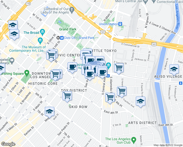 map of restaurants, bars, coffee shops, grocery stores, and more near 515 South Figueroa Street in Los Angeles