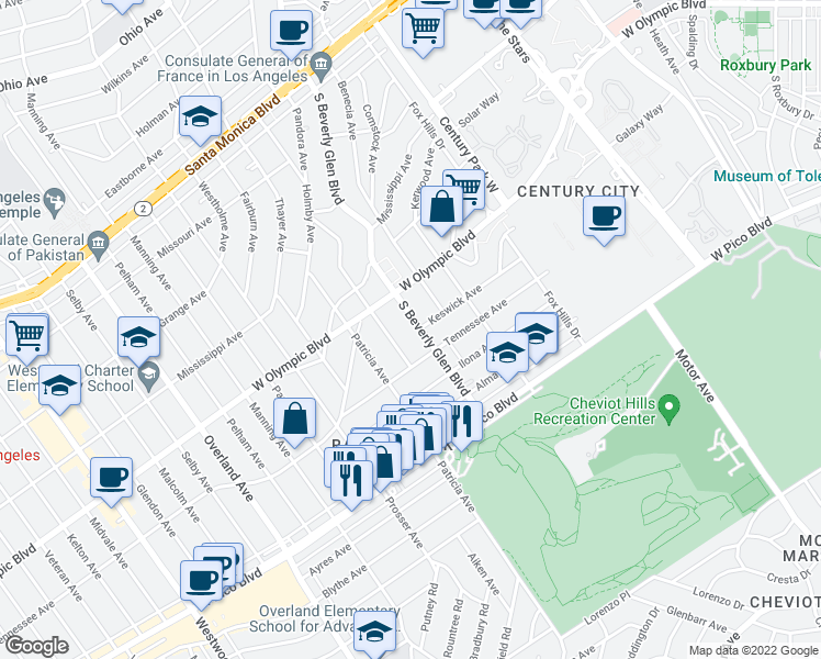 map of restaurants, bars, coffee shops, grocery stores, and more near 2245 S Beverly Glen in Los Angeles