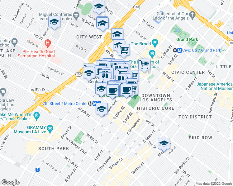 map of restaurants, bars, coffee shops, grocery stores, and more near 611 West 6th Street in Los Angeles