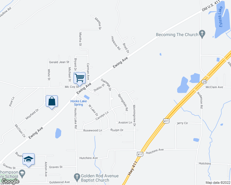 map of restaurants, bars, coffee shops, grocery stores, and more near 205 Springdale Road in Gadsden