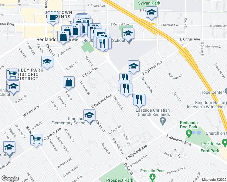 map of restaurants, bars, coffee shops, grocery stores, and more near 301 East Cypress Avenue in Redlands