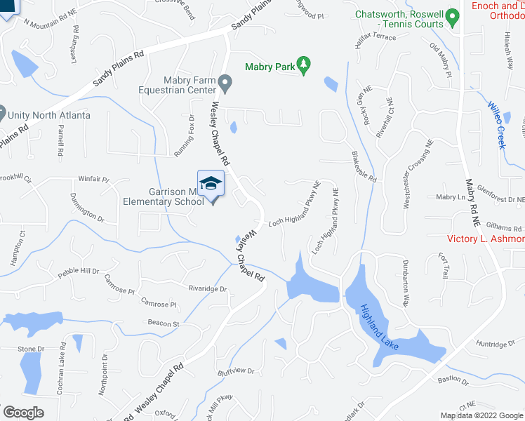 map of restaurants, bars, coffee shops, grocery stores, and more near 4063-4201 Wesley Chapel Road in Marietta