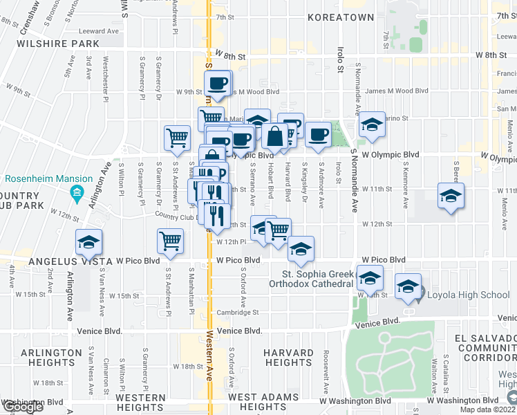 map of restaurants, bars, coffee shops, grocery stores, and more near 1128 South Serrano Avenue in Los Angeles