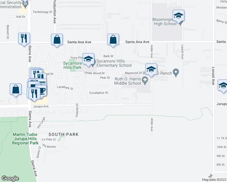 map of restaurants, bars, coffee shops, grocery stores, and more near 11212 Daylilly Street in Fontana