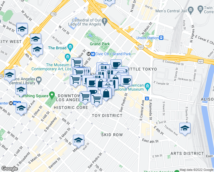 map of restaurants, bars, coffee shops, grocery stores, and more near 222 South Main Street in Los Angeles