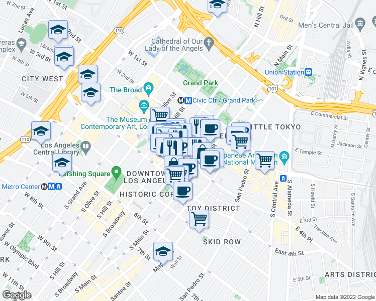 map of restaurants, bars, coffee shops, grocery stores, and more near 121-129 West 3rd Street in Los Angeles