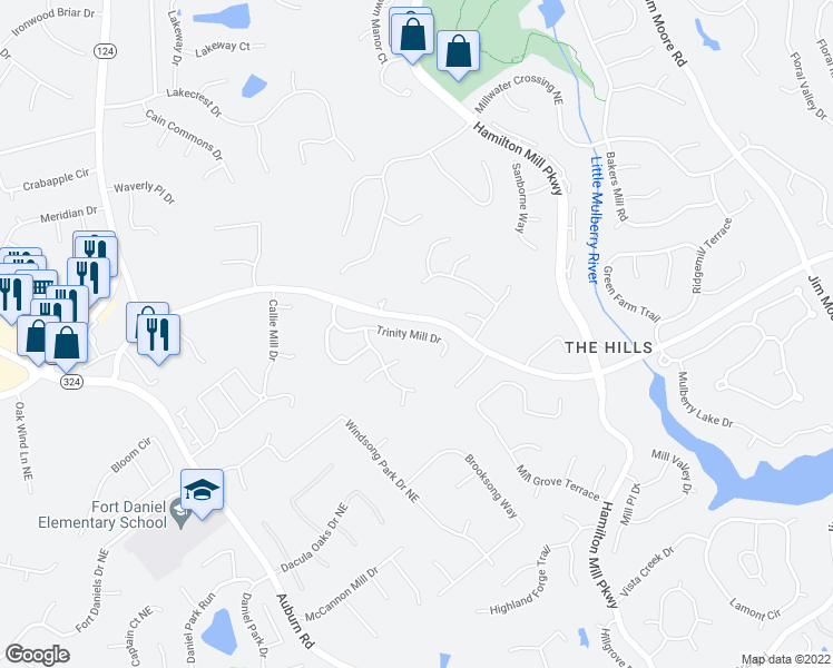 map of restaurants, bars, coffee shops, grocery stores, and more near 3145 Hog Mountain Road Northeast in Dacula