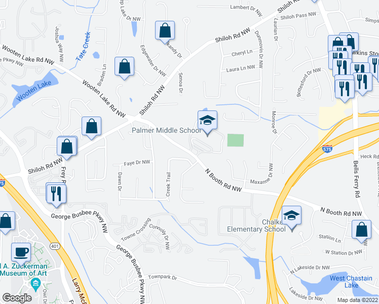 map of restaurants, bars, coffee shops, grocery stores, and more near 712-722 North Booth Road Northwest in Kennesaw