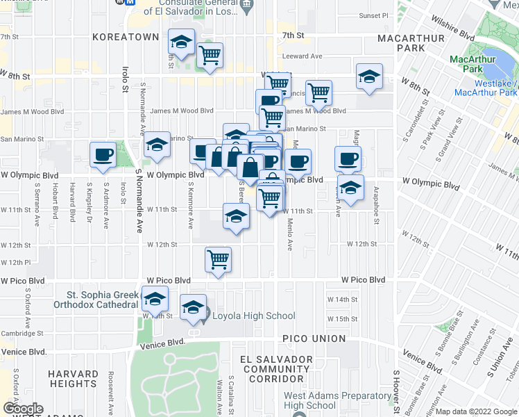 map of restaurants, bars, coffee shops, grocery stores, and more near South New Hampshire Avenue in Los Angeles