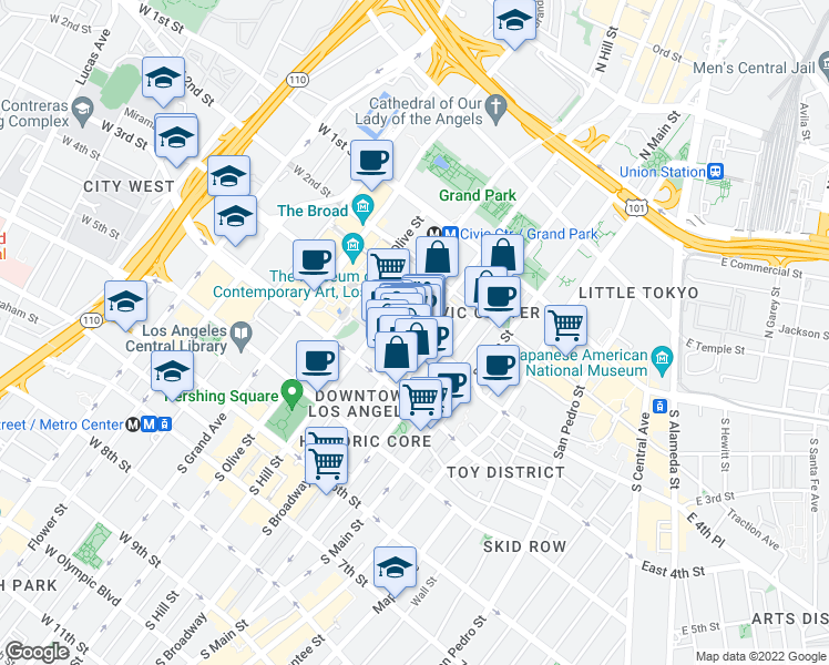 map of restaurants, bars, coffee shops, grocery stores, and more near 245 South Broadway in Los Angeles